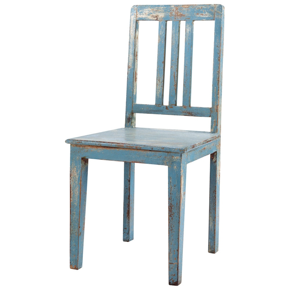 distressed mango wood chair in grey blue avignon maisons du monde