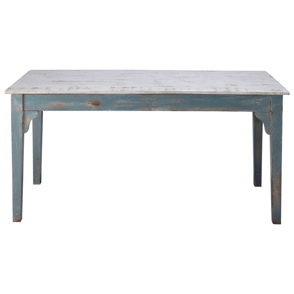 Distressed mango wood dining table in grey blue W 160cm Avignon ...