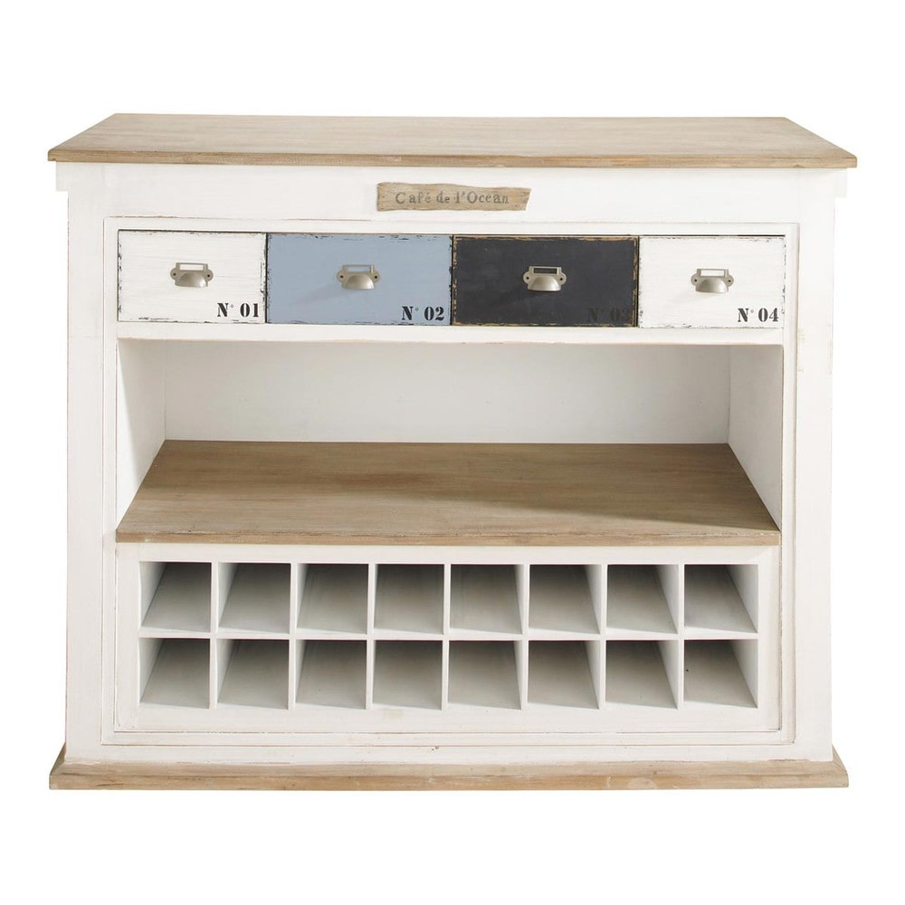 Distressed wood bar unit with drawers in white w 129cm for Maison de monde uk