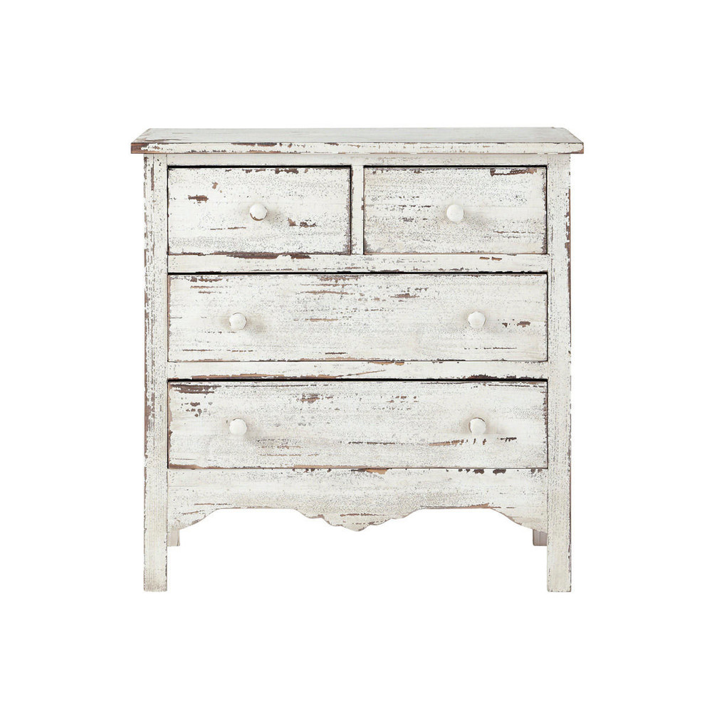 Distressed wood chest of drawers in white w 77cm castillon for Effet vieilli meuble