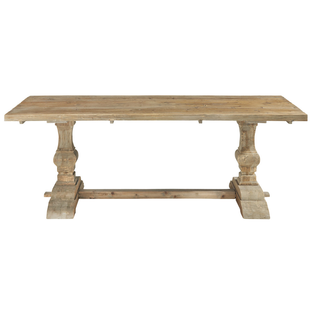 Distressed wood dining table w 220cm lourmarin maisons for Table salle a manger 8 personnes