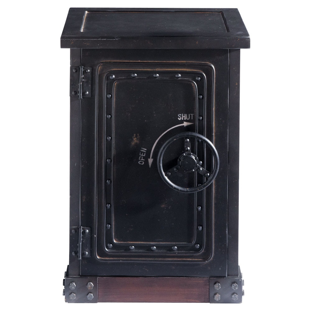 distressed wood safe cabinet in black w 53cm bank maisons du monde. Black Bedroom Furniture Sets. Home Design Ideas