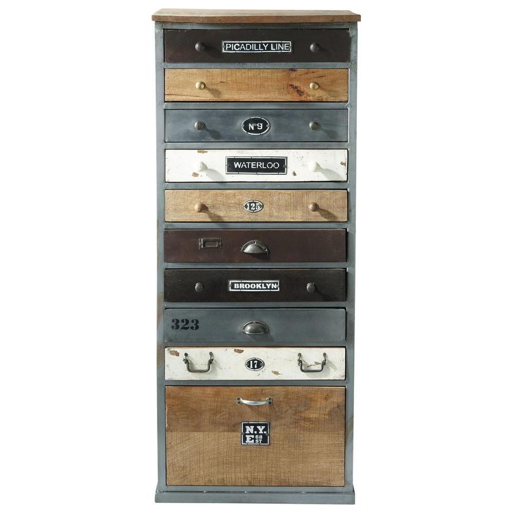 distressed wood semainier chest w 59cm lazare maisons du monde