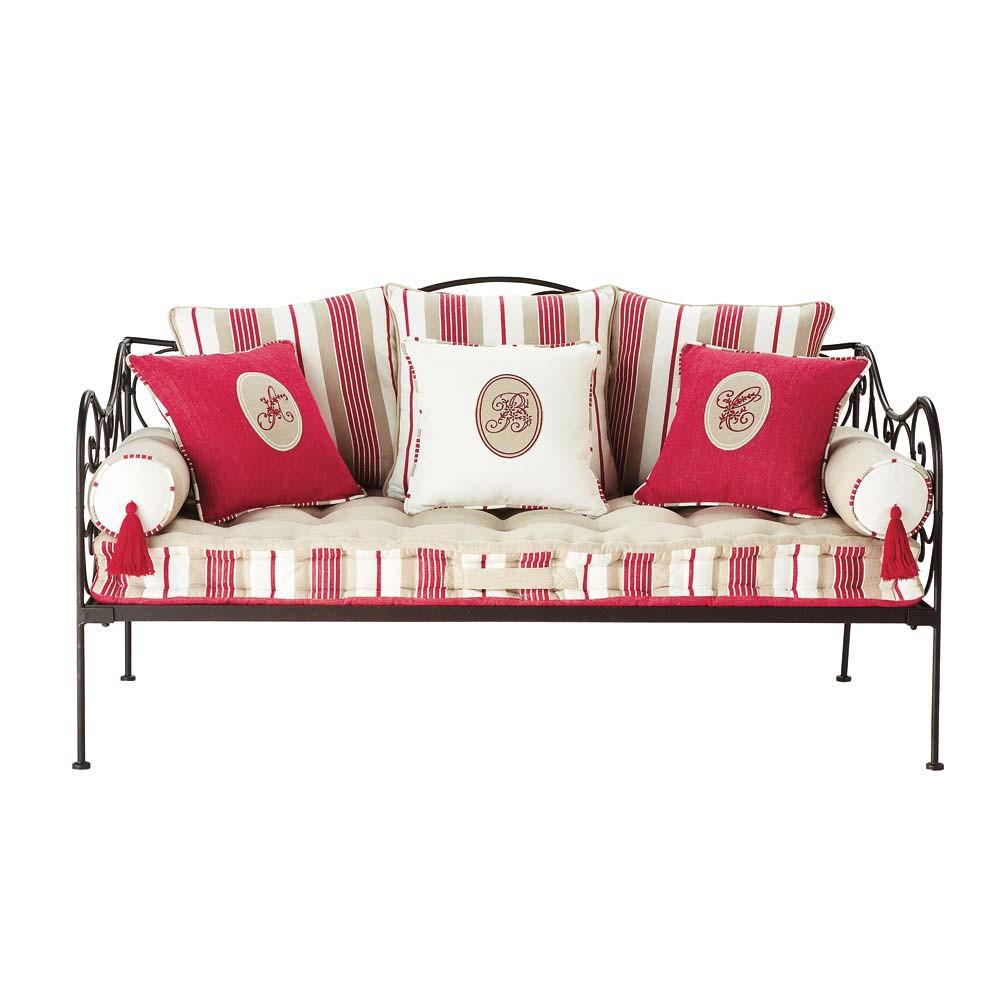 divanetto a righe in cotone 3 posti ninon maisons du monde. Black Bedroom Furniture Sets. Home Design Ideas