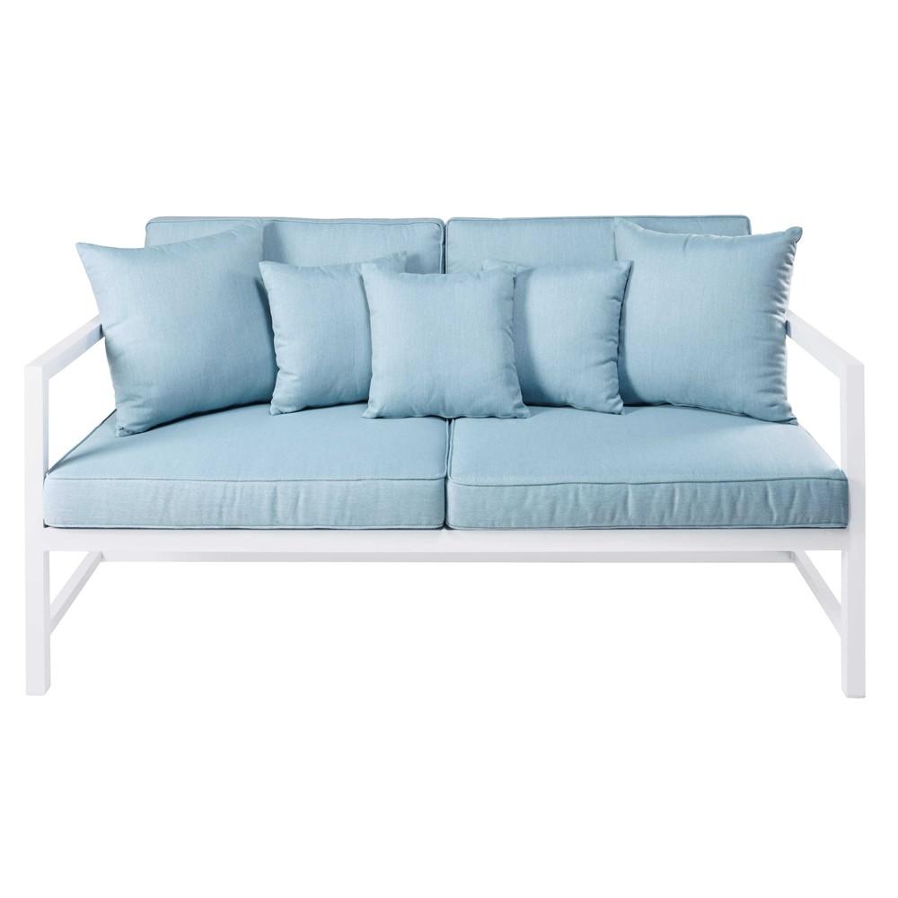 divanetto da giardino 23 posti in alluminio bianco e cuscini azzurri