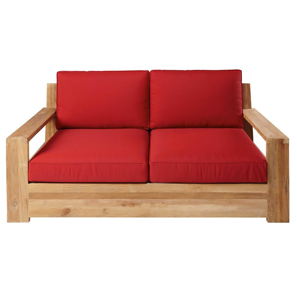 divanetto da giardino 23 posti in teak e cuscini color mattone