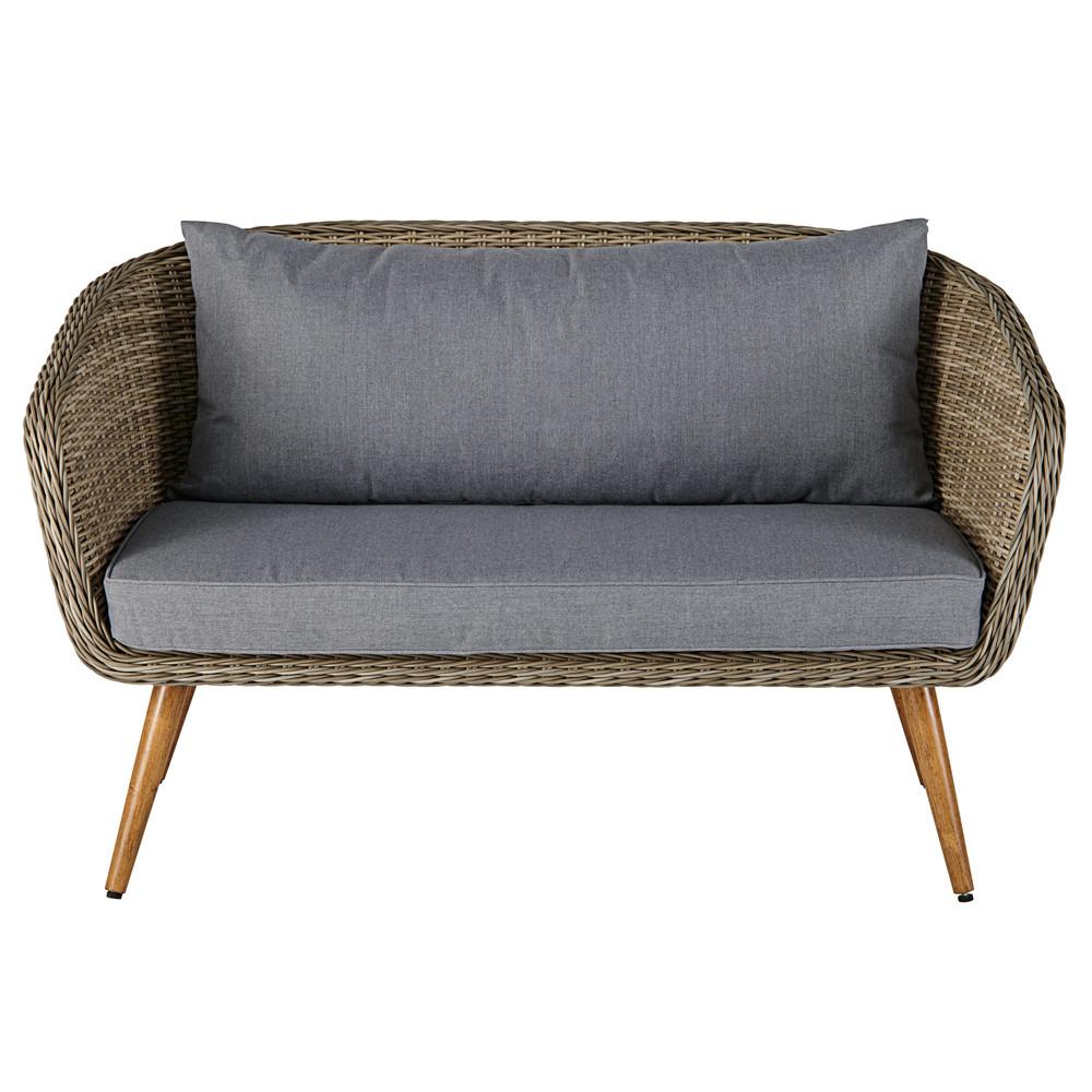 divanetto da giardino 2 posti in resina intrecciata e cuscini grigi
