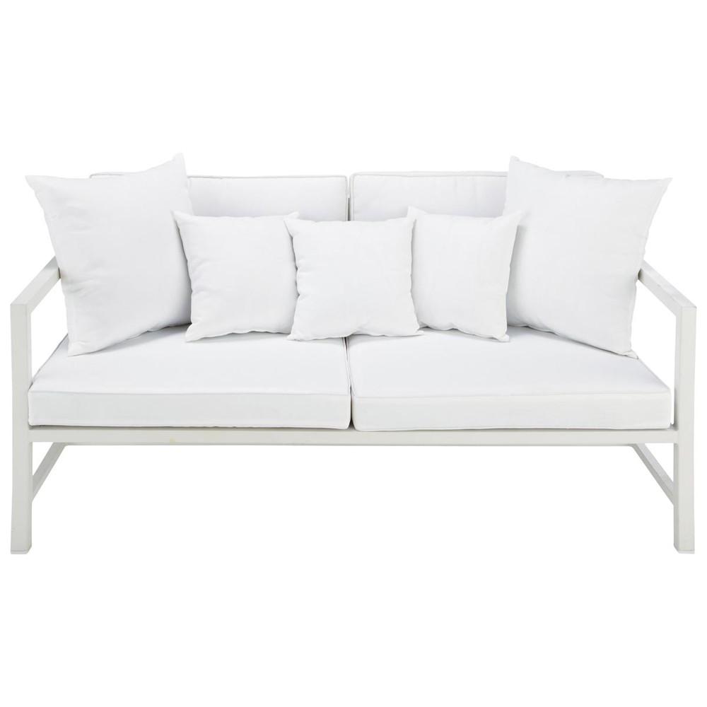 divanetto da giardino bianco 2 posti in alluminio