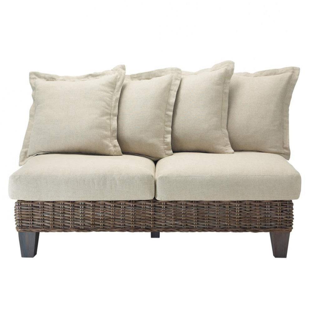 divanetto da giardino in rattan kubu chiaro 2 posti