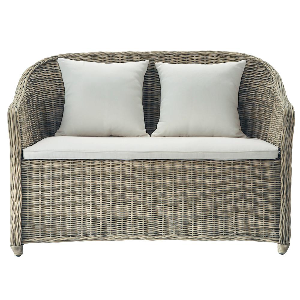divanetto da giardino in resina intrecciata 2 posti