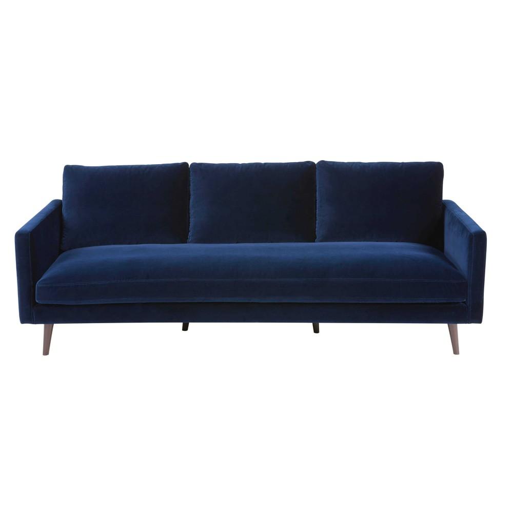 Divano 4 posti blu notte in velluto kant maisons du monde for Divano velluto blu