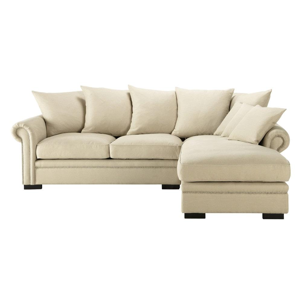 Divano ad angolo beige grigio chiaro in lino 5 posti for Divano ad angolo grande
