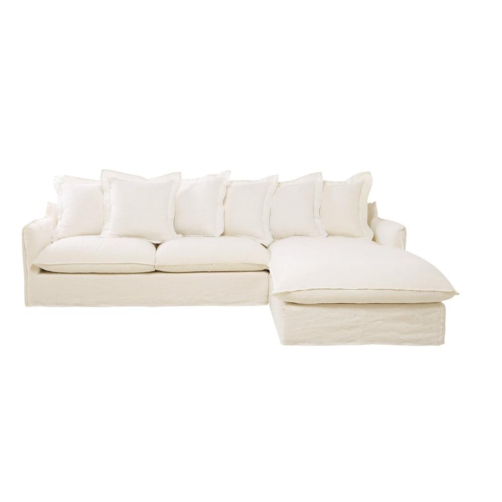 Divano ad angolo bianco in lino slavato 7 posti barcelone for Divano bianco