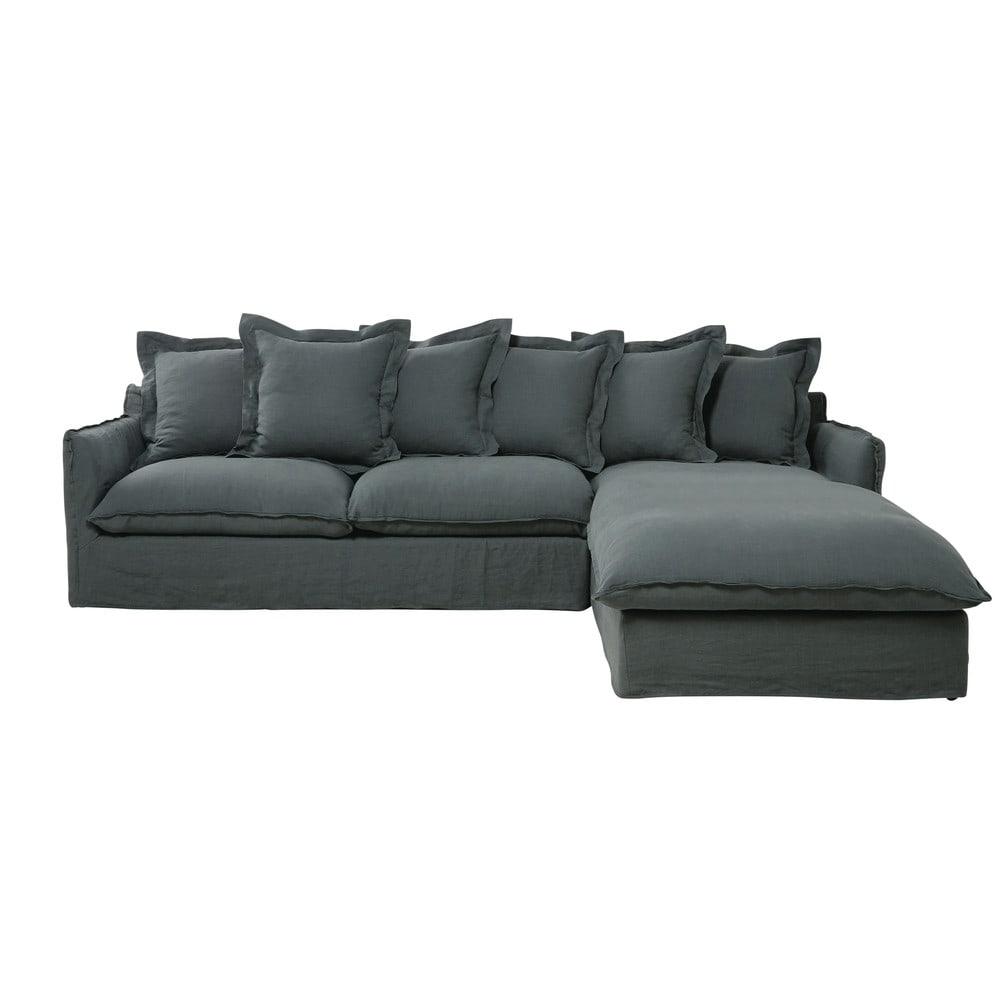 Divano ad angolo color antracite in lino slavato 7 posti - Dimensioni divano ad angolo ...