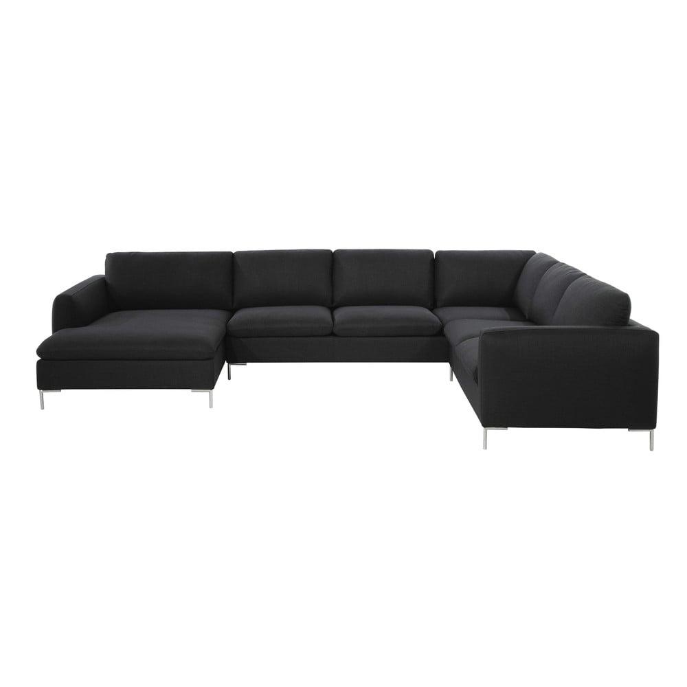 divano ad angolo color antracite in tessuto 8 posti city