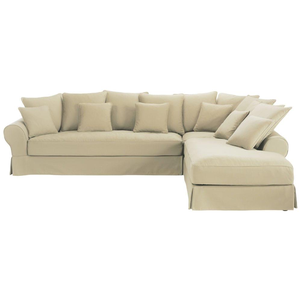 divano ad angolo destro color beige grigio in cotone 6