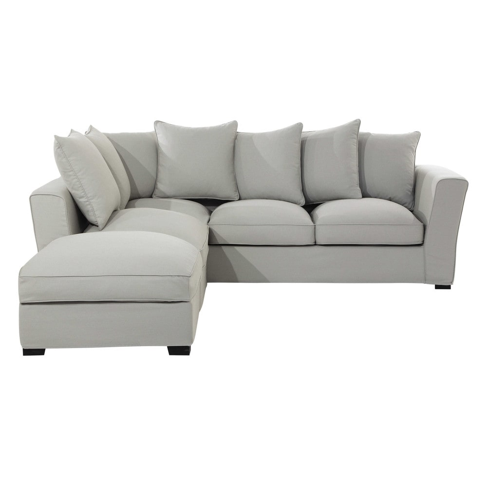 Divano ad angolo grigio chiaro in cotone 5 posti balthazar - Divano grigio chiaro ...