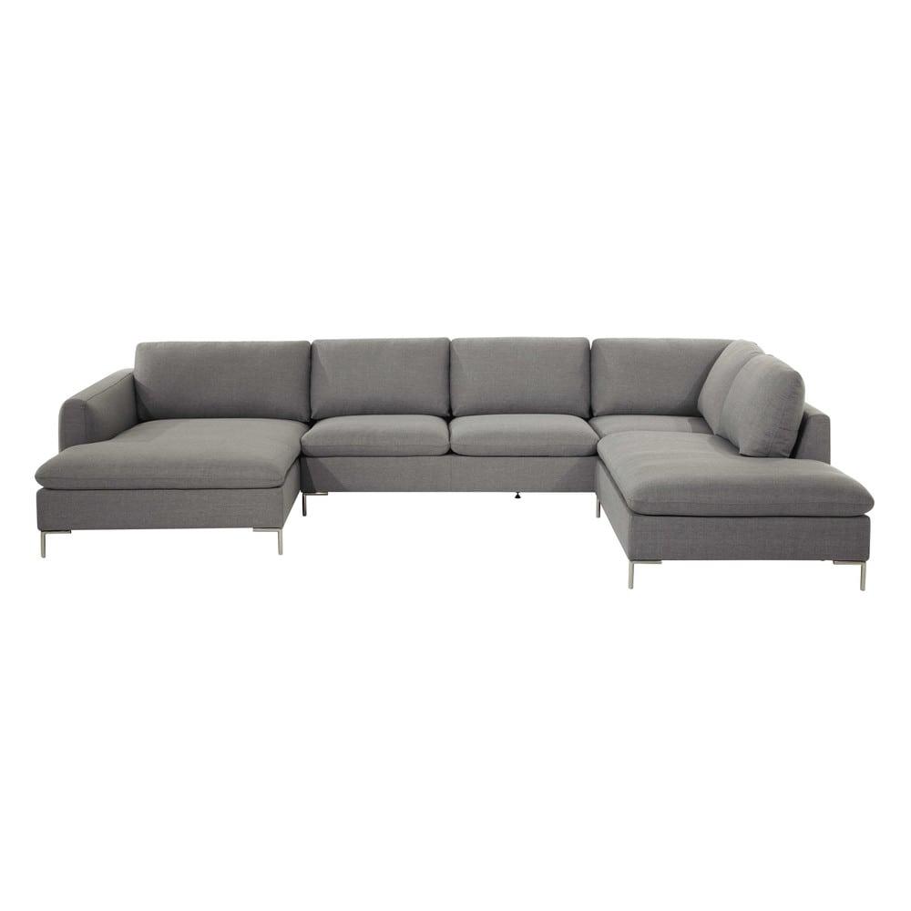 Divano ad angolo grigio chiaro in tessuto 7 posti city - Maison du monde divano roma ...