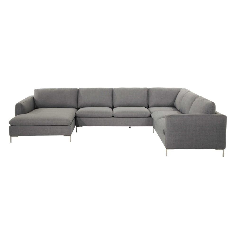 divano ad angolo grigio chiaro in tessuto 8 posti city