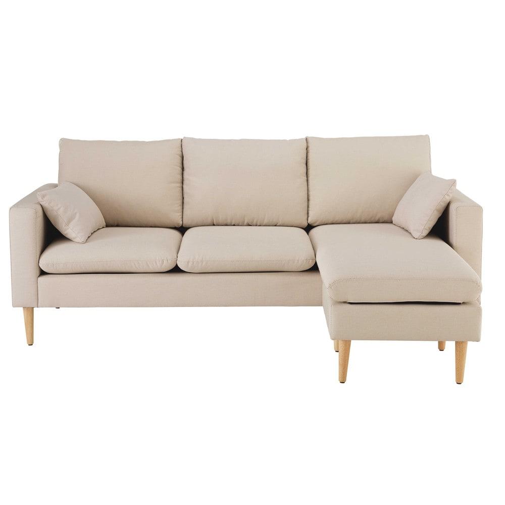 divano ad angolo modulabile 3 4 posti beige in tessuto