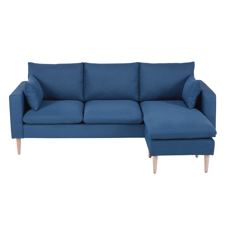 Divano ad angolo modulabile 3/4 posti blu in tessuto Joey | Maisons ...