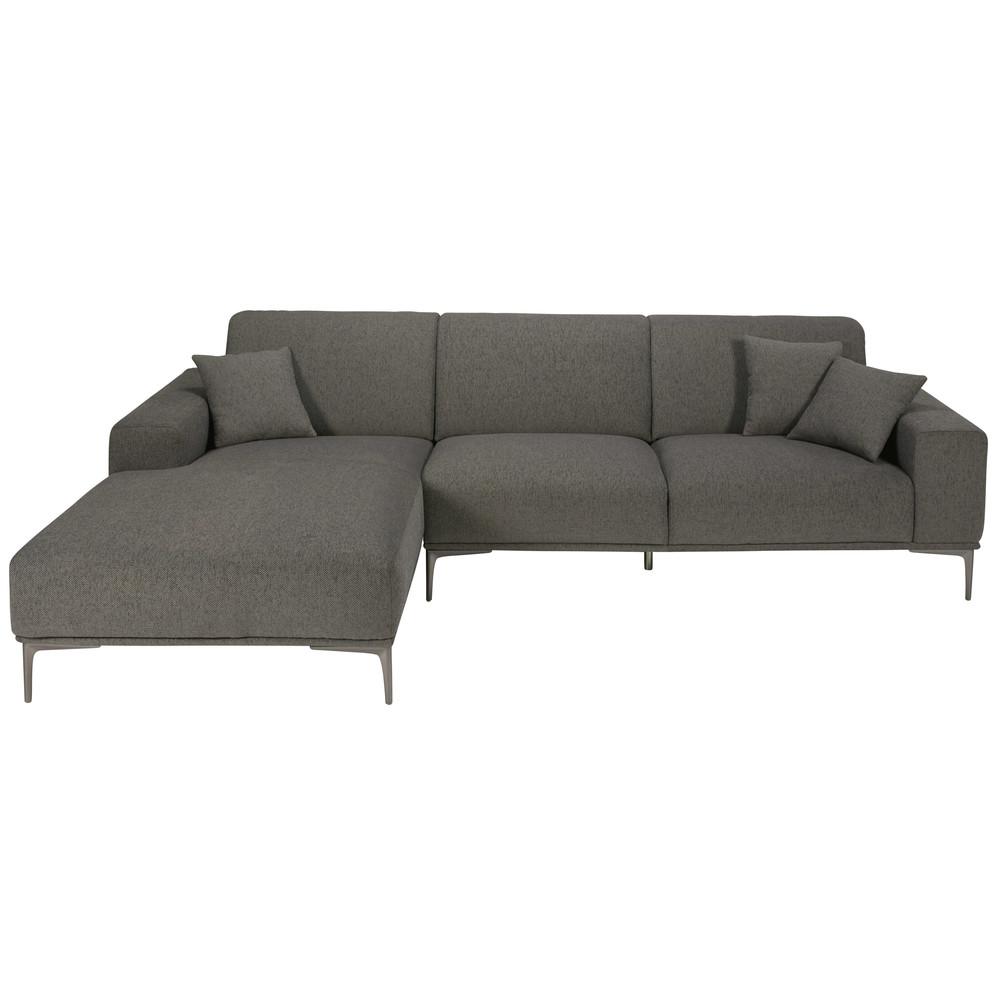 divano ad angolo sinistro 5 posti grigio screziato in tessuto ... - Angolo Chaise Whistler Grigio