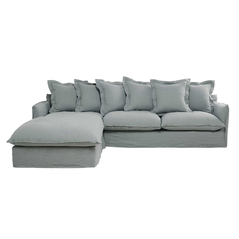 Divano ad angolo sinistro 7 posti grigio chiaro in lino - Divano grigio chiaro ...