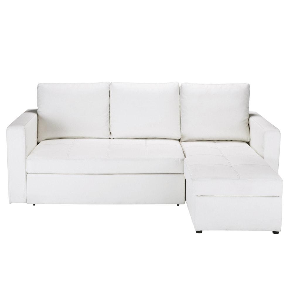 Divano ad angolo trasformabile bianco in poliuretano 3 posti toronto maisons du monde - Divano letto toronto ...