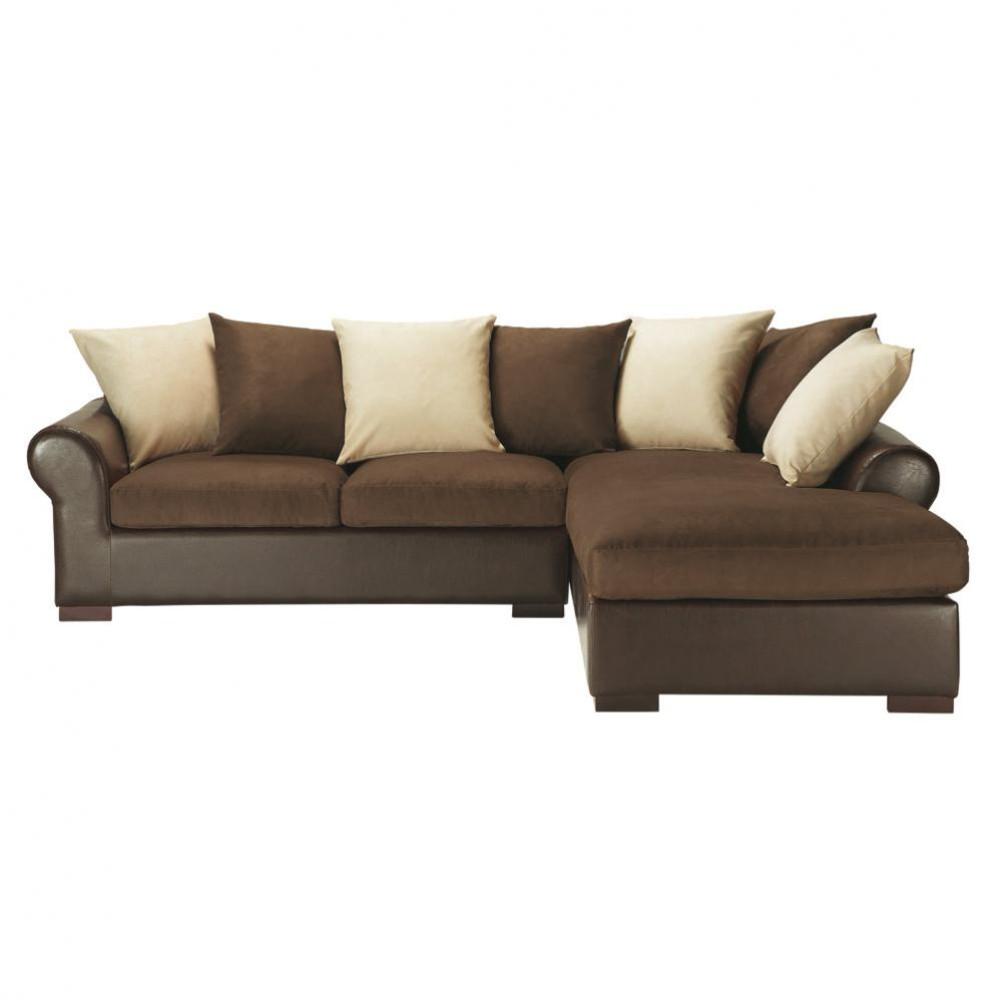 Divano ad angolo trasformabile marrone in tessuto 5 posti - Divano angolo letto ...