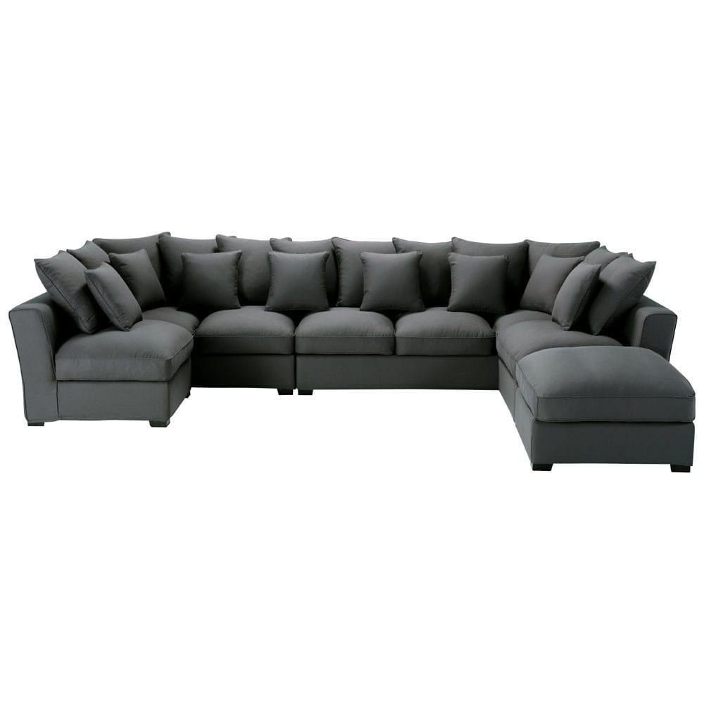 divano angolare fisso a 7 posti in cotone grigio ardesia