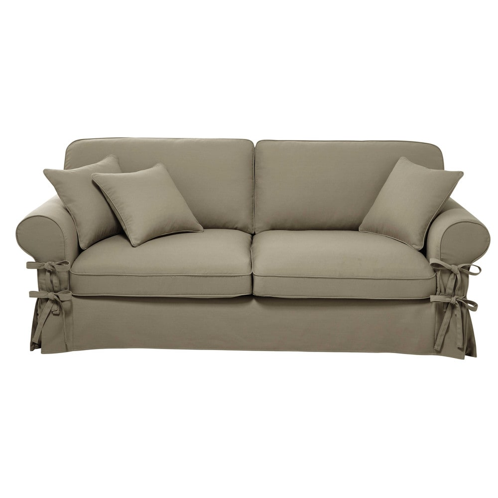 Divano beige grigio chiaro in cotone 3 4 posti butterfly for Divano 4 posti