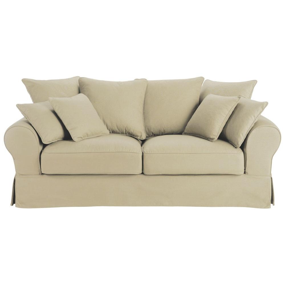 divano beige grigio chiaro in cotone 3 posti bastide