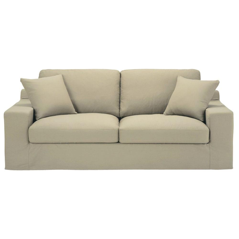 Divano beige-grigio chiaro in cotone 3 posti Stuart ...