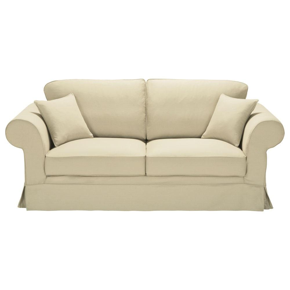 Divano beige-grigio chiaro in cotone 3 posti Victoria ...