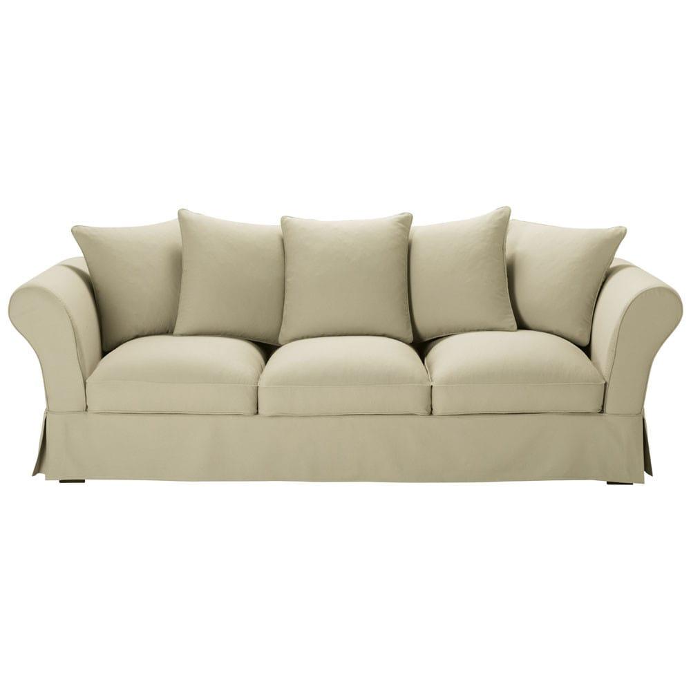Divano beige grigio chiaro in cotone 4 5 posti roma for Divano 4 posti