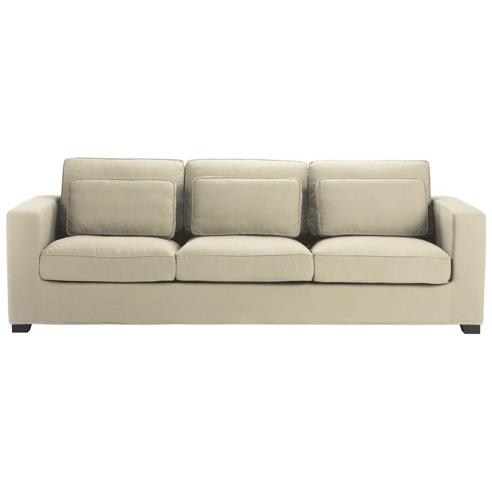 Divano beige-grigio chiaro in cotone 4 posti Milano ...