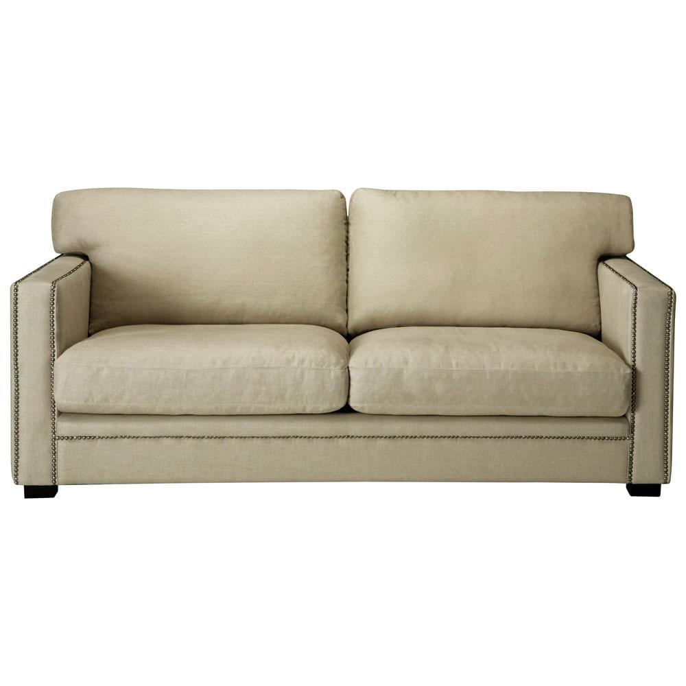 Divano beige-grigio chiaro in lino 3/4 posti Dandy ...
