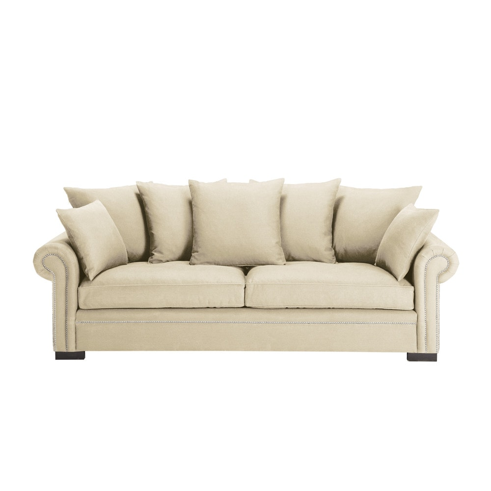 Divano beige grigio chiaro in lino 4 posti plazza for Divano 4 posti