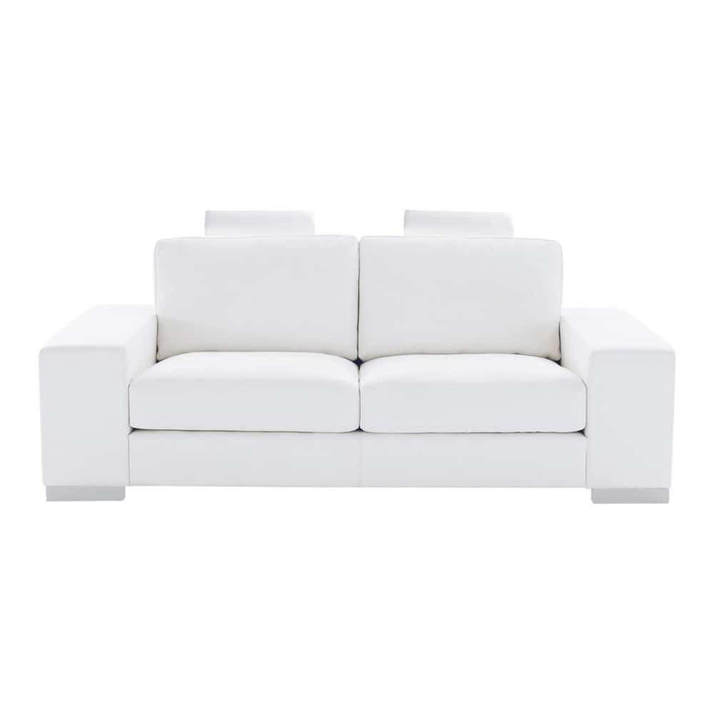 Divano bianco in cuoio 2 posti daytona maisons du monde for Divano bianco
