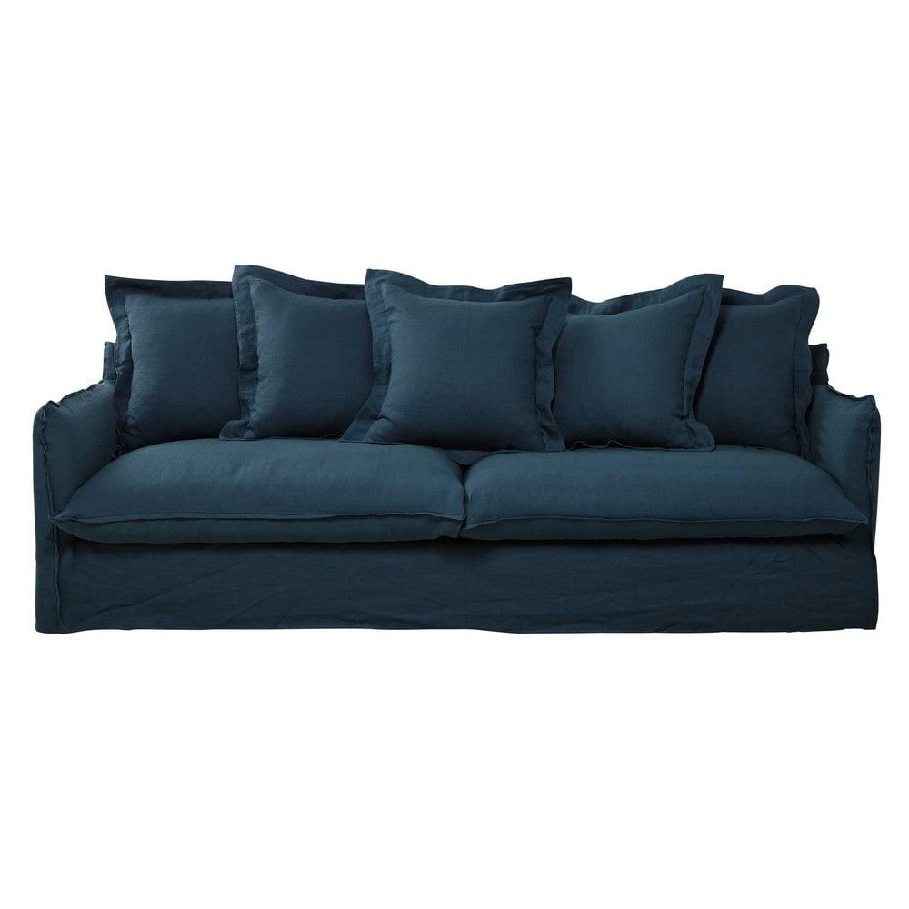 Divano blu anatra in lino slavato 5 posti barcelone for Divano 5 posti
