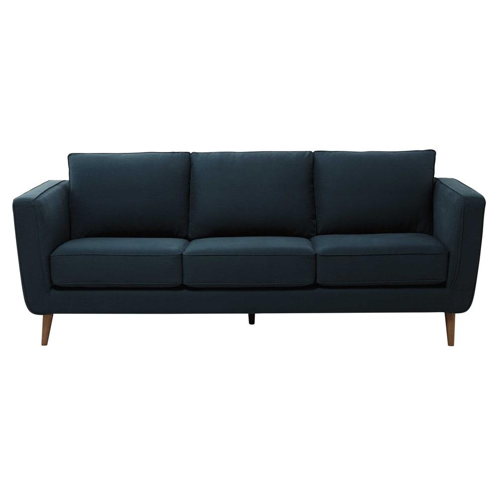 Divano blu anatra in tessuto kendo 3 4 posti nils for Divano seduta larga