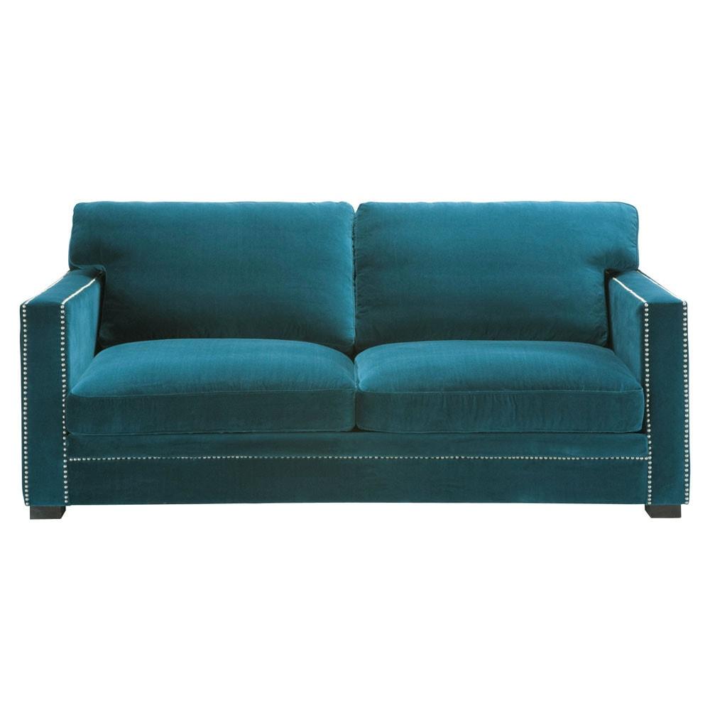 Divano blu in velluto 3 4 posti dandy maisons du monde - Divano velluto blu ...