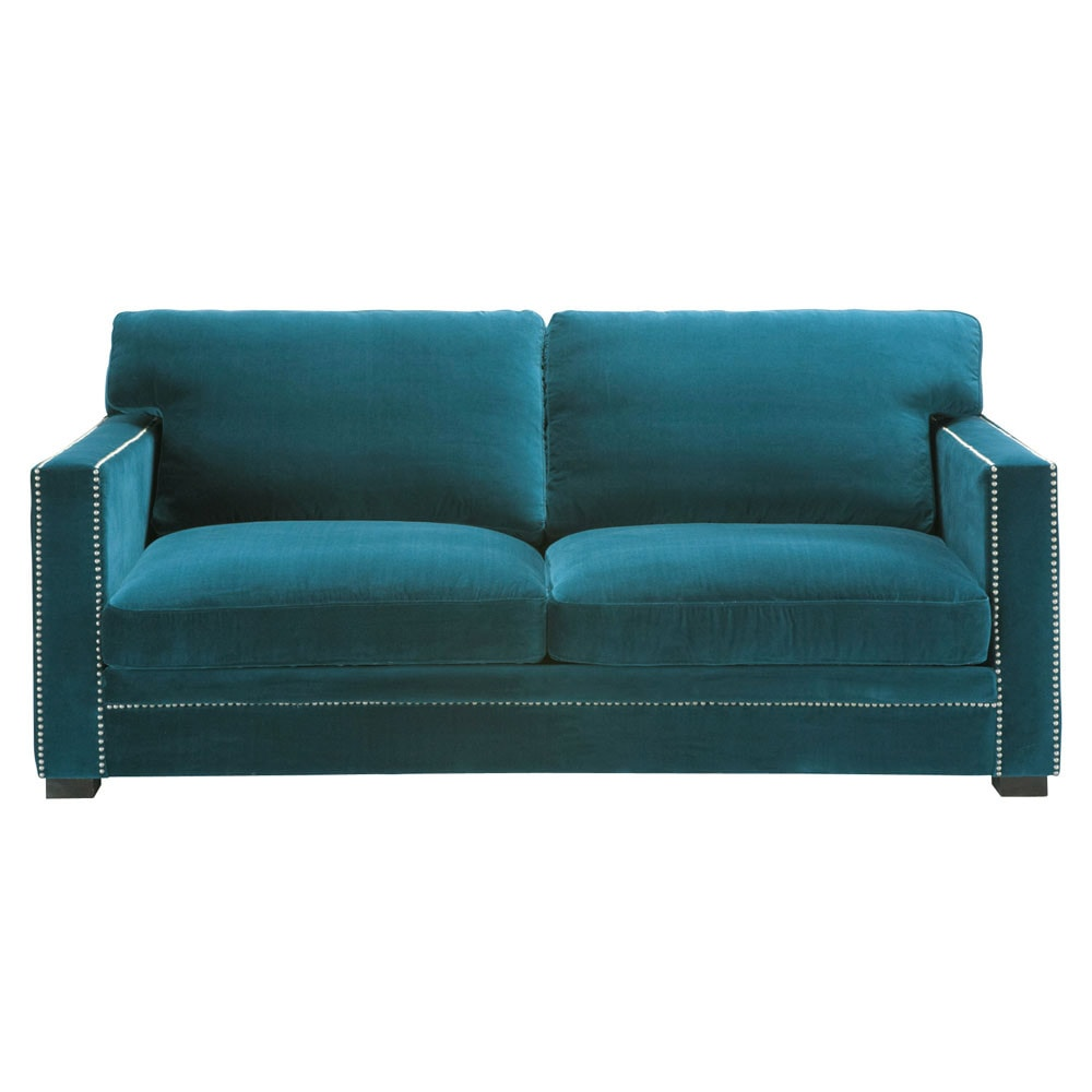 Divano blu in velluto 3 4 posti dandy maisons du monde for Divano velluto blu