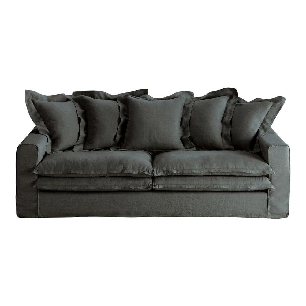 Divano color antracite in lino 3 4 posti lisbonne - Divano grigio antracite ...