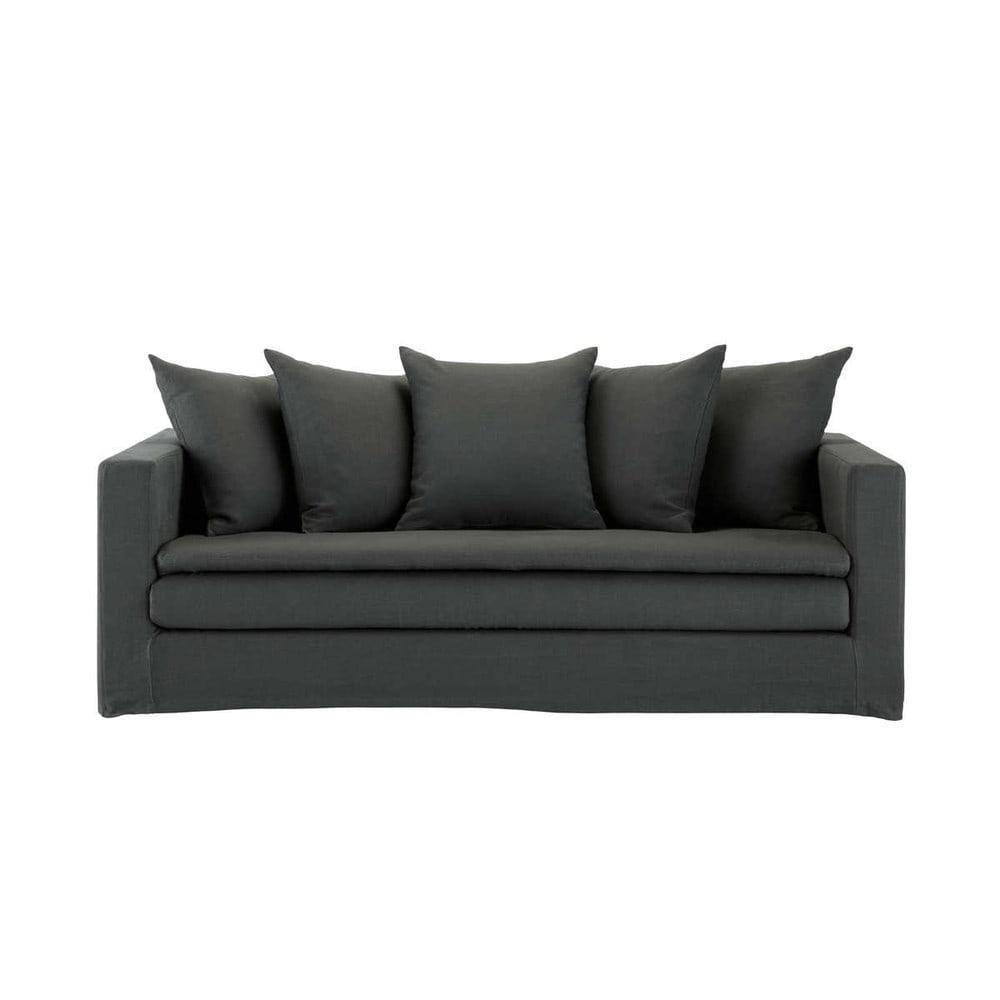 ... mobili › Divani › Divano color antracite in lino 3/4 posti OLBIA