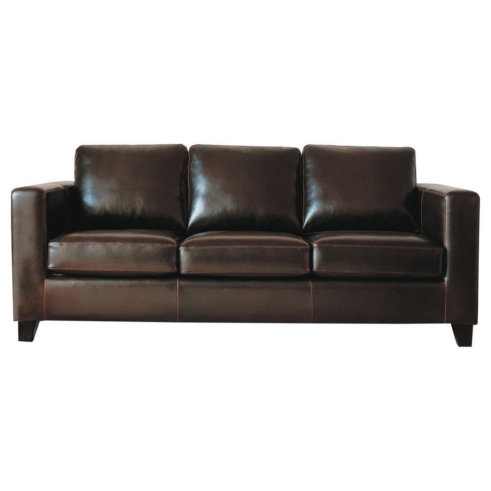 divano color cioccolato in crosta di pelle 3 posti kennedy