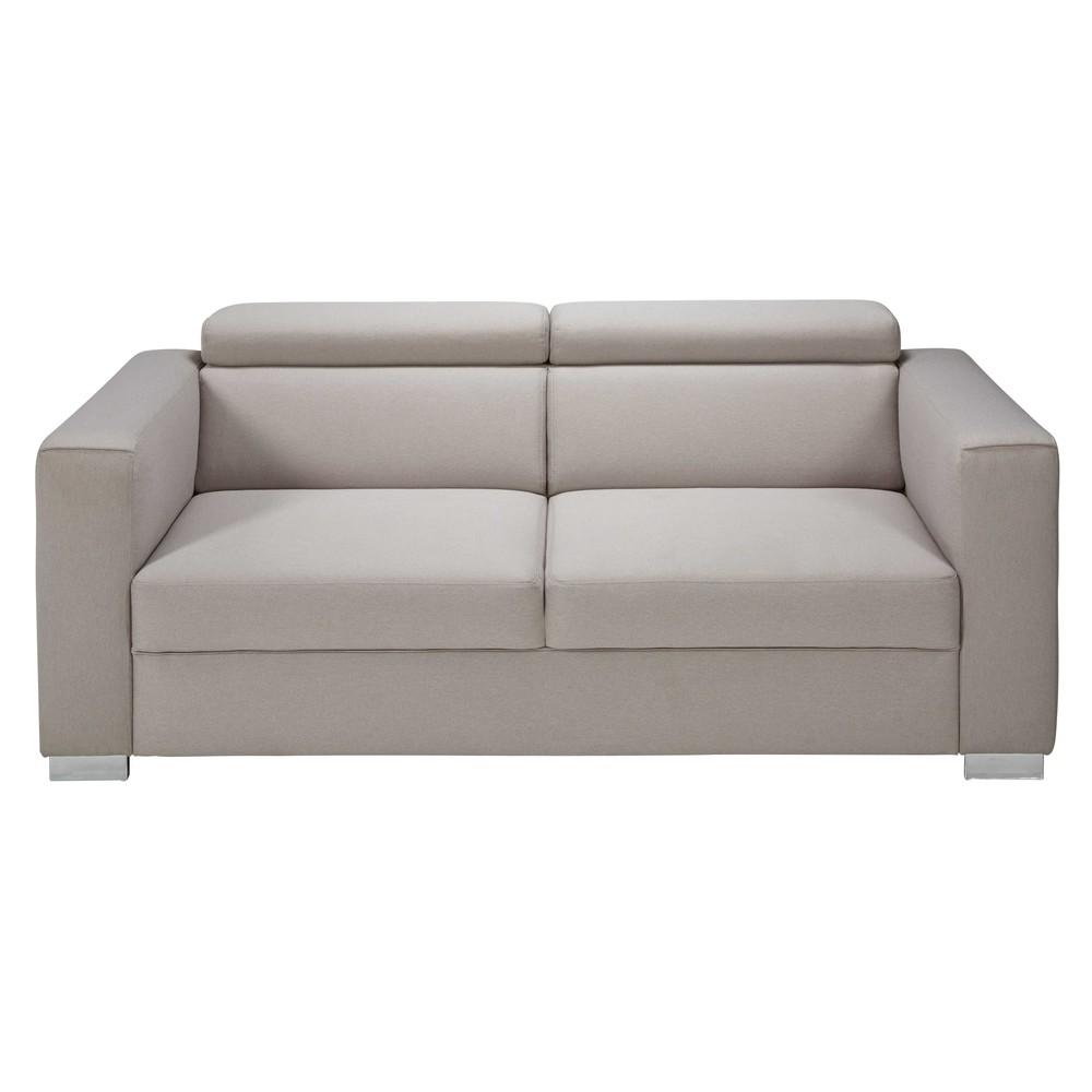 Divano con poggiatesta 3 posti beige grigio in tessuto - Poggiatesta per divano ...