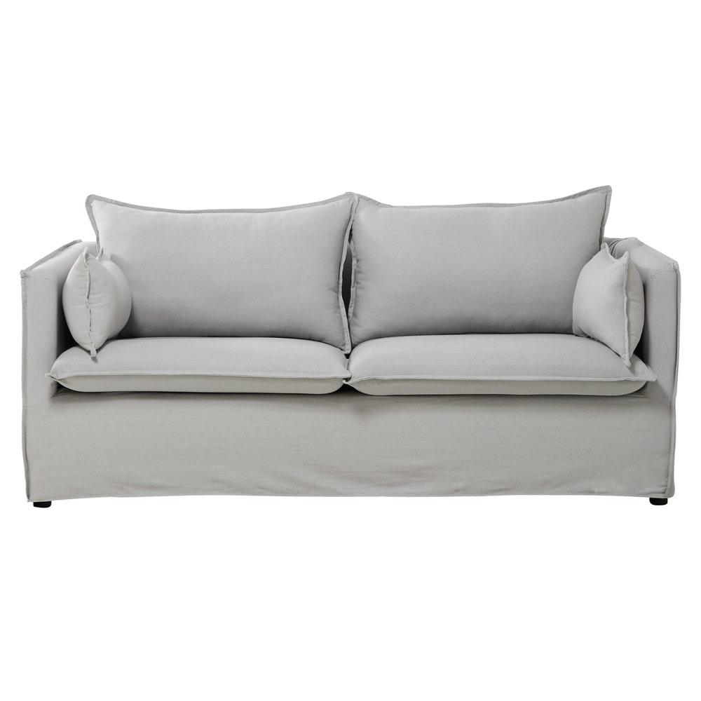 Divano grigio chiaro in cotone e lino 3 posti edimbourg - Divano grigio chiaro ...