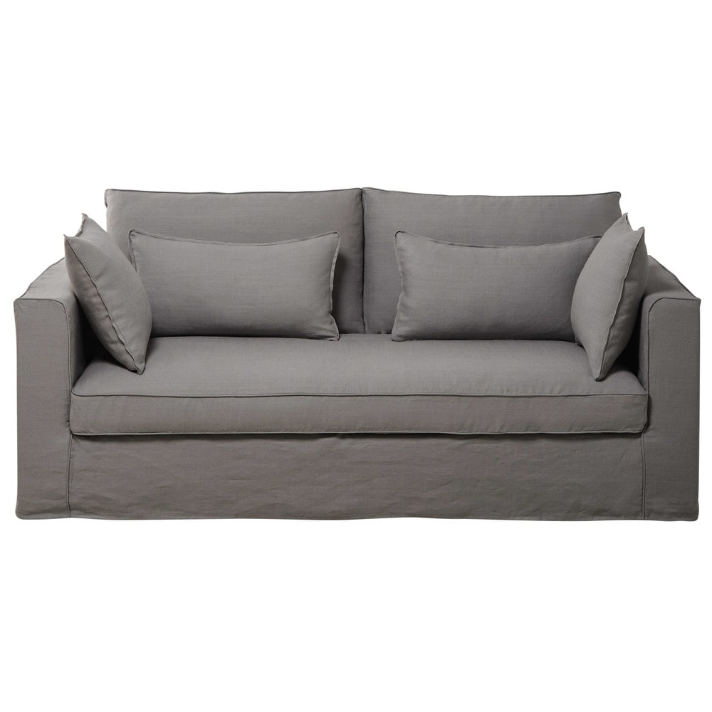 Divano grigio chiaro in lino slavato 3 posti zoe maisons - Divano grigio chiaro ...