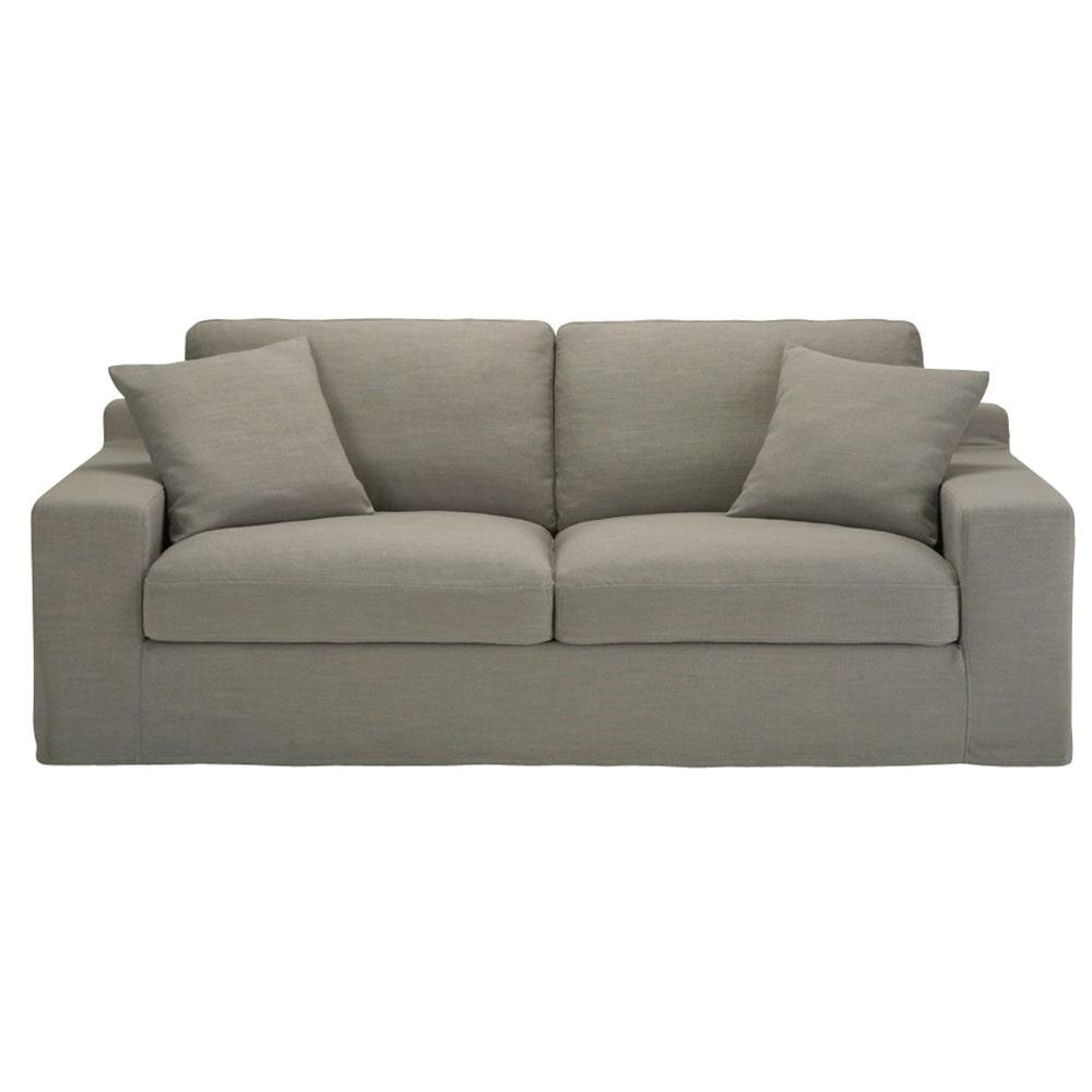 divano grigio in tessuto 3 posti stuart maisons du monde